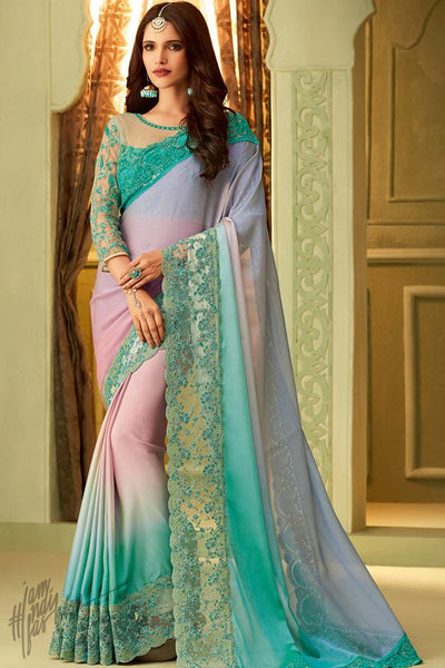 Turquoise Blue Shaded Silk Party Wear Saree