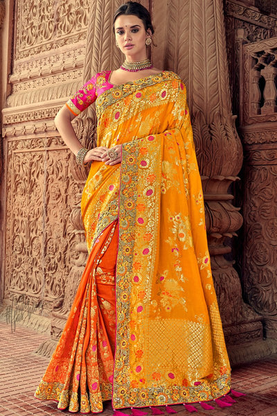 Yellow Orange and Rani Banarasi Silk Saree