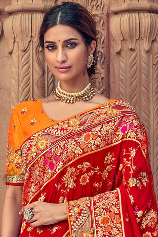 Red and Orange Banarasi Silk Saree