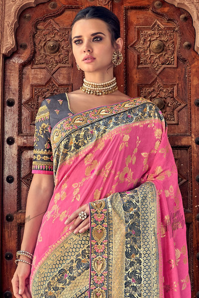 Pink and Gray Banarasi Silk Saree