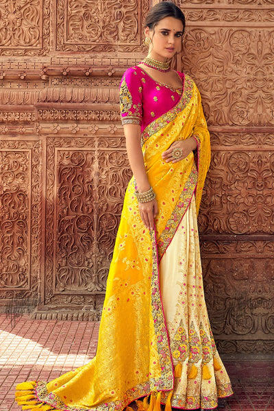 Yellow Cream and Magenta Banarasi Silk Saree