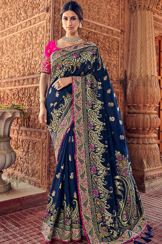Midnight Blue and Rani Banarasi Silk Saree