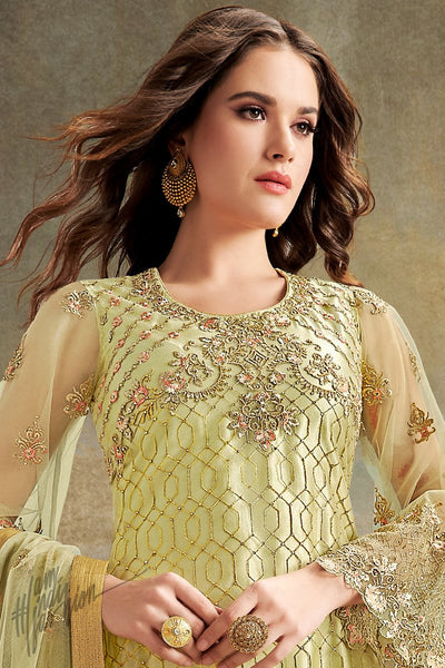 Light Olive Super Net Sharara Suit