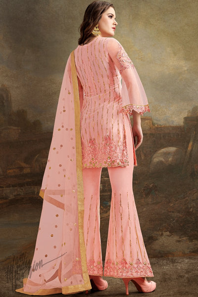 Pink Super Net Suit with Bell Pants