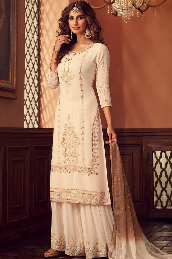 Blanched Almond Georgette Sharara Suit