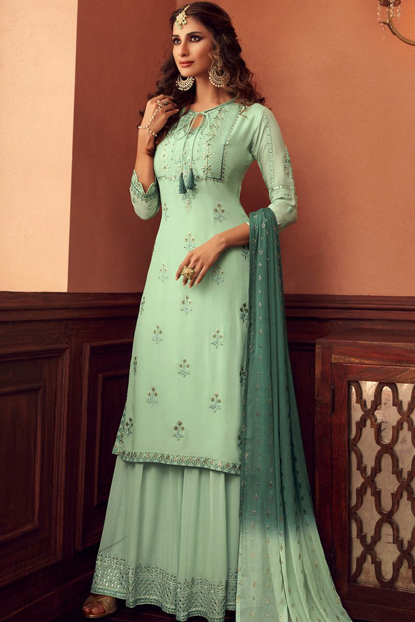 Frog Green Georgette Sharara Suit
