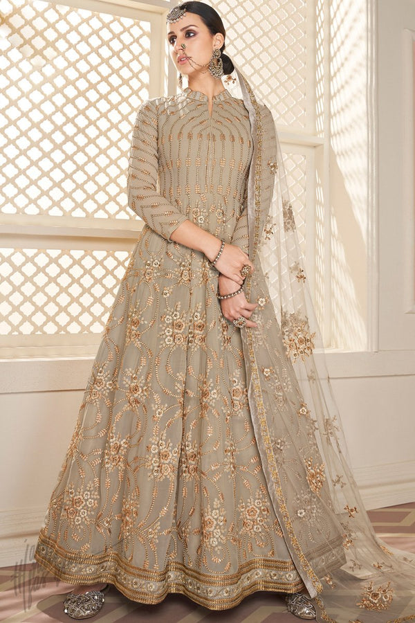 Clay Brown Faux Georgette Anarkali Suit