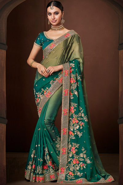 Olive and Morpeach Ombre Satin Georgette Saree