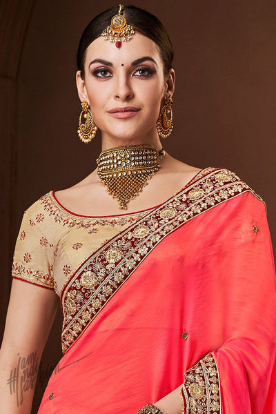 Peach and Tusser Georgette and Handloom Silk Saree