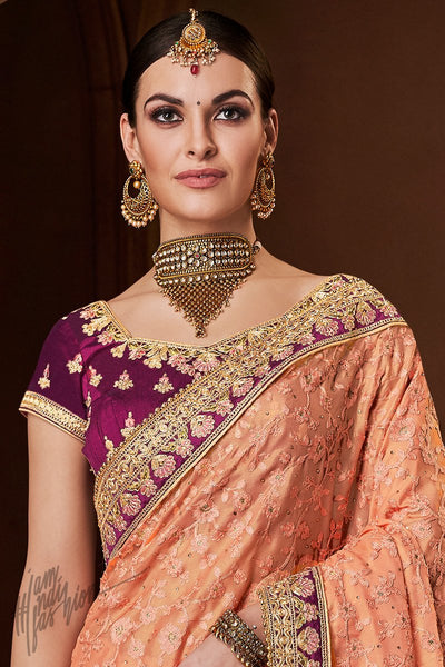 Peach and Wine Georgette and Handloom Silk Saree