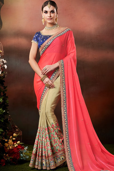 Pink Chiku and Blue Half and Half Georgette and Handloom Silk Saree