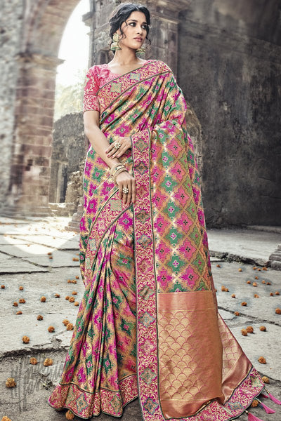 Indi Fashion Multicolor Banarasi Silk Wedding Saree