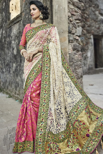 Indi Fashion White and Pink Net and Silk Wedding Saree