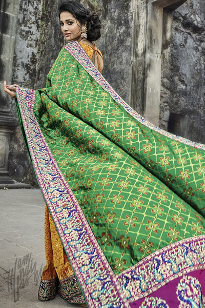 Indi Fashion Yellow and Green Banarasi Silk Wedding Saree