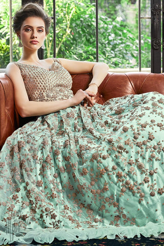 Pastel Blue Net Sleeveless Anarkali Suit