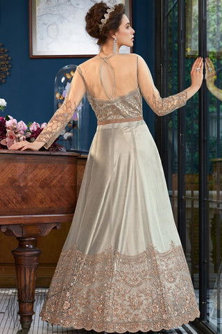 Gray Net Lehenga Style Suit with Pants