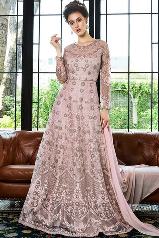 Baby Pink Net Anarkali Suit