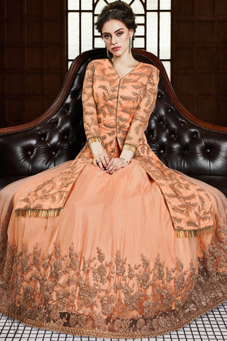 Peach Net Lehenga Style Suit with Pants