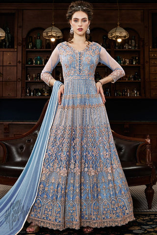 Pastel Ink Blue Net Anarkali Suit