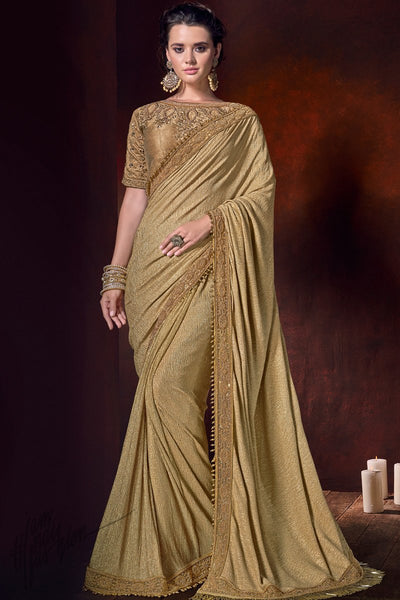 Antique Gold Crushed Net Saree
