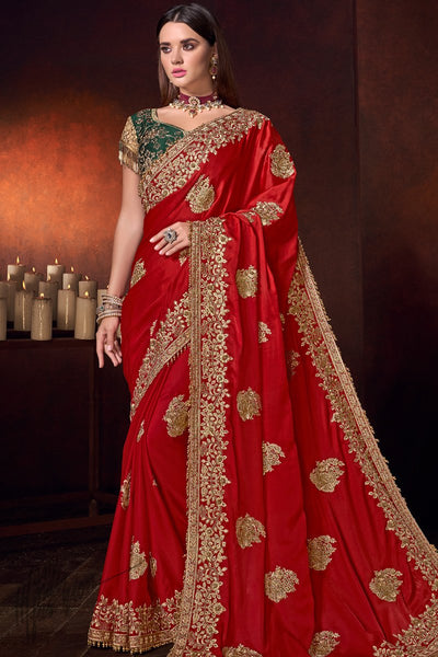 Red and Forest Green Pure Satin Saree