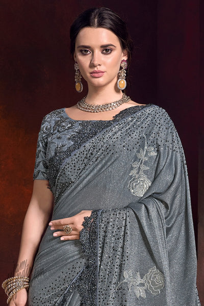 Gray Shimmer Net Saree
