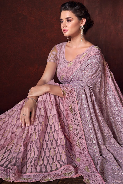 Light Pink Lakhnavi Net Saree