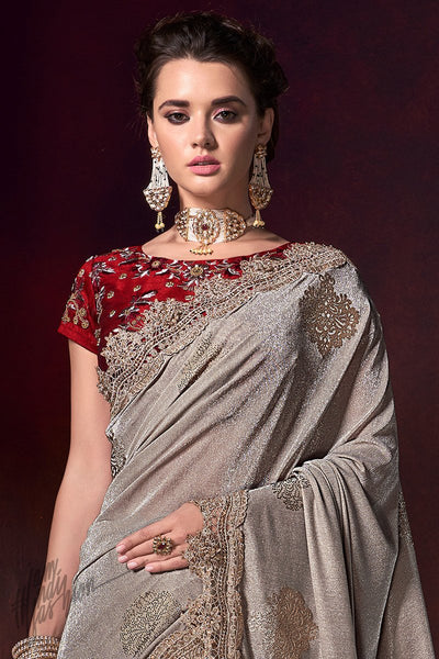 Shimmering Silver and Red Saree