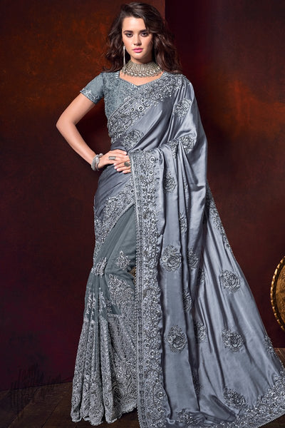 Gray Pure Satin and Net Saree