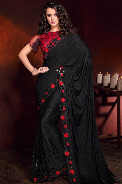 Black and Red Net Saree