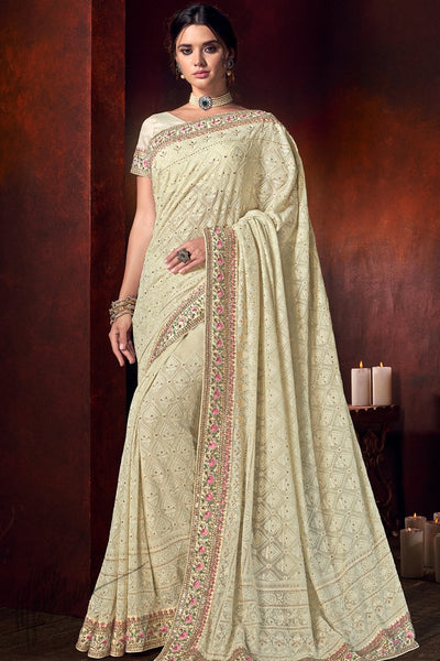 Cream Lakhnavi Bemberg Saree