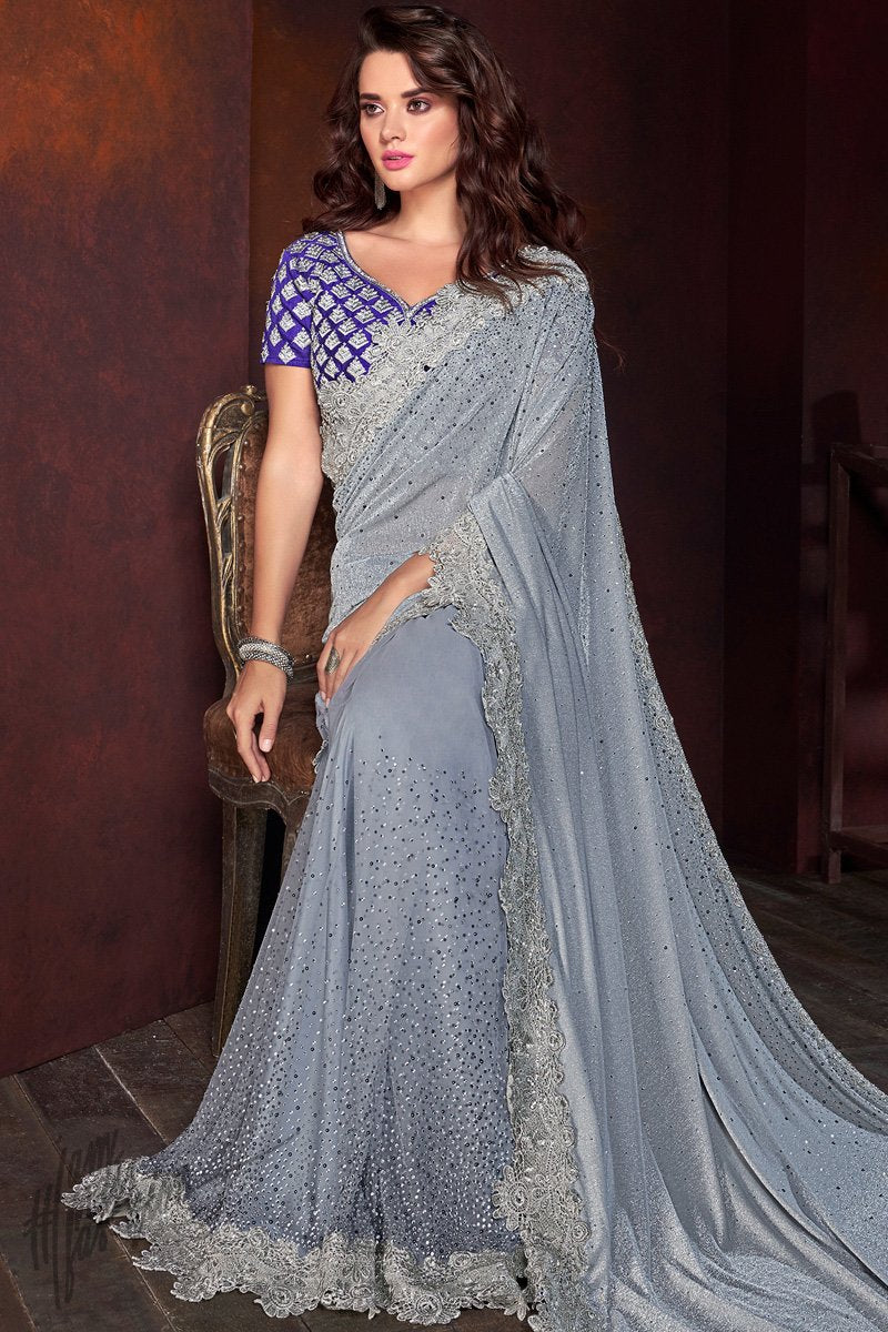 Light Gray and Blue Shimmer Net Saree