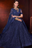 Blue Net Wedding Lehenga Set