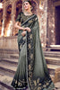 Gray and Black Banarasi Pure Silk Saree