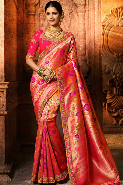 Rani and Gold Pure Dola Silk Wedding Saree
