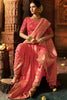 Baby Pink Pure Dola Silk Wedding Saree