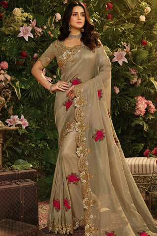 Beige Pure Viscose Tissue Saree
