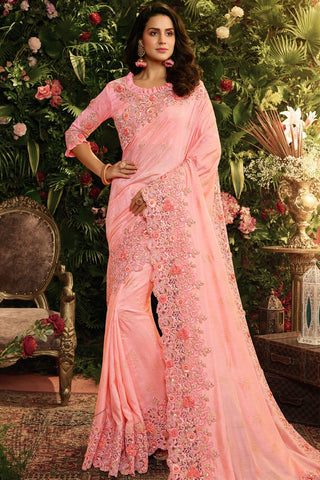 Light Pink Pure Silk and Net Saree