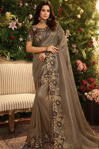 Dark Bronze and Coffee Pure Organza Silk Saree