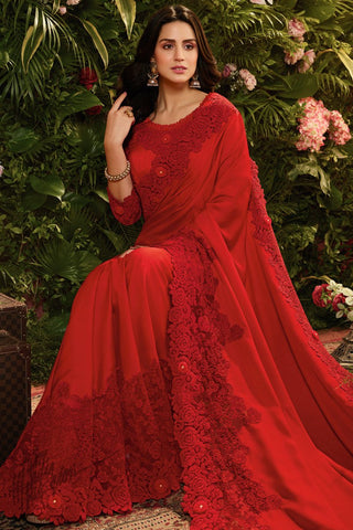 Red Pure Satin Silk and Net Saree