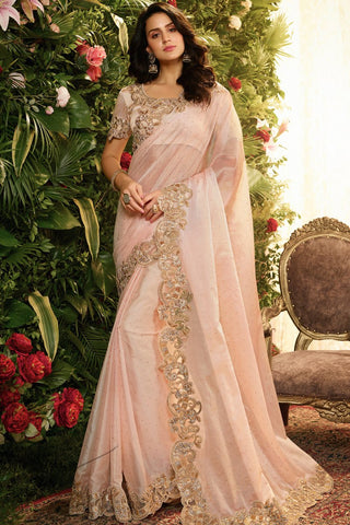 Light Baby Pink Pure Organza Silk and Net Saree