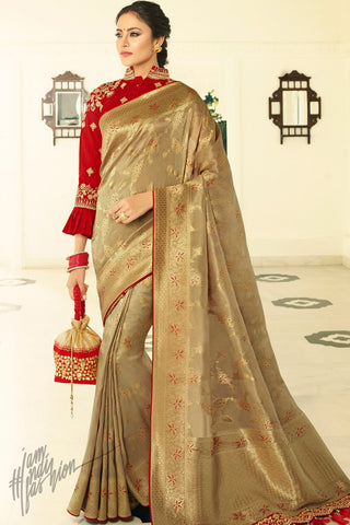 Golden and Maroon Banarasi Silk Saree