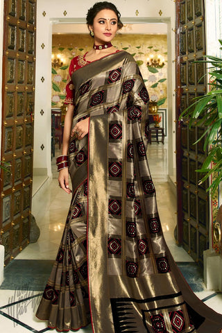 Black Bronze and Maroon Banarasi Silk Saree