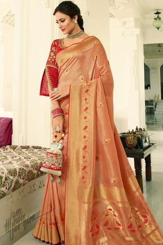 Peach and Maroon Banarasi Silk Saree