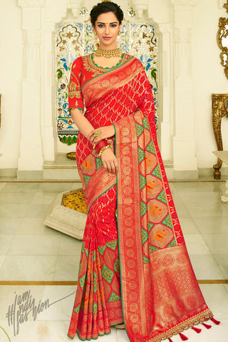 Red and Green Banarasi Silk Saree