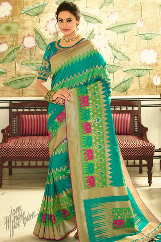 Rama and Parrot Green Banarasi Silk Saree