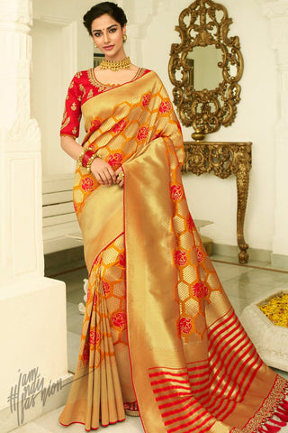 Mustard Golden and Red Banarasi Silk Saree