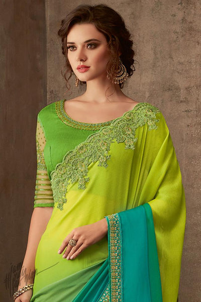 Parrot Green and Sky Blue Ombre Silk Chiffon Party Wear Saree