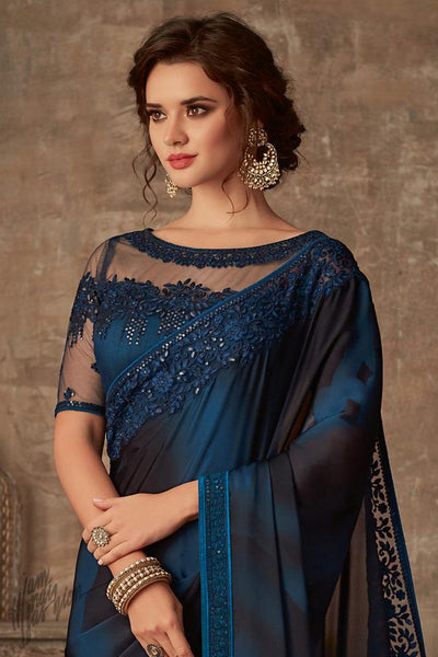 Blue and Black Silk Party Wear Saree