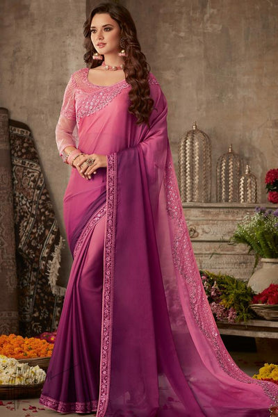 Pink and Purple Ombre Silk Chiffon Party Wear Saree